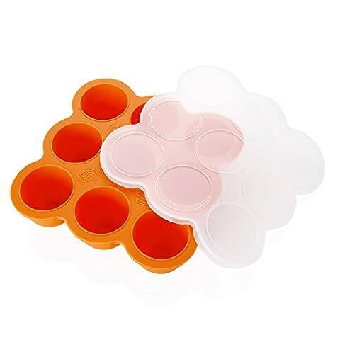 Einfrieren Babybrei, GVDV Babynahrung Aufbewahrung / Food Storage / Eismaschine / Gefrierschrank Behälter-Behälter mit Silikon Clip, hausgemachte Babynahrung Silikon Gefrierschrank Lagercontainer Tray, Orange