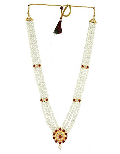 Anuradha Art Maroon Colour Studded White Colour Stone & Pearl Beads Adorable Traditional Maharashtrian Long Rani Haar Necklace For Women/Girls  available at amazon for Rs.300