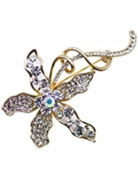 Dainika Aabharanam | Beautifully Crafted Pavé Rhinestones Jasmine Flower Design Gold Colour Brooch/Saree-Pin For...