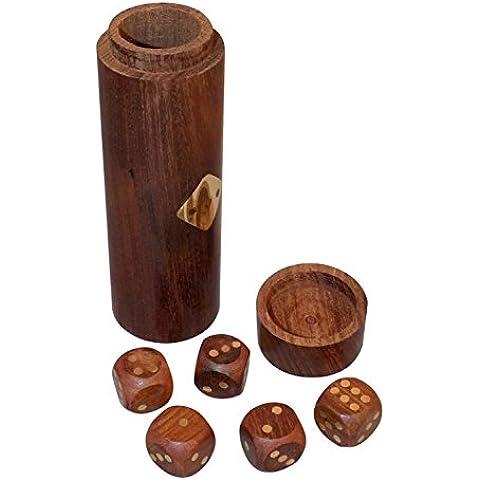 Insolito unico tazza set 5 dadi - puzzle in legno giocattoli dadi e giochi per il gioco dei dadi famiglie- con coppe - 3,81 x 12.7 x 8.89 cm