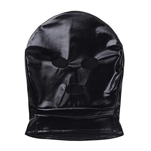 Agoky 3 Loch Maske Kopfmaske aus Lack Leder Haube mit offenem Mund und Augen Bandage Fetisch SM Sex Spielzeug Schwarz One Sizec