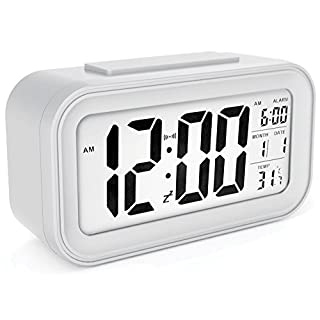 sin&mi - Alarm Clock Large LED Display Digital Alarm Clock Snooze Activated Night Light Features White