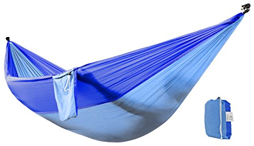 Zoophyter Double Camping Hammock, High Quality Nylon Fabric Parachute, Perfect for Park, Travel, Beach and Outdoor, With Free Hammock Rope & Steel Carabiners (DarkBlue & Blue)