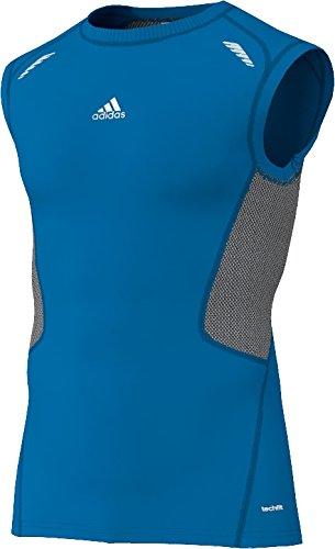 Adidas - Maglia sportiva senza maniche da uomo Techfit Preparation Blu blu L
