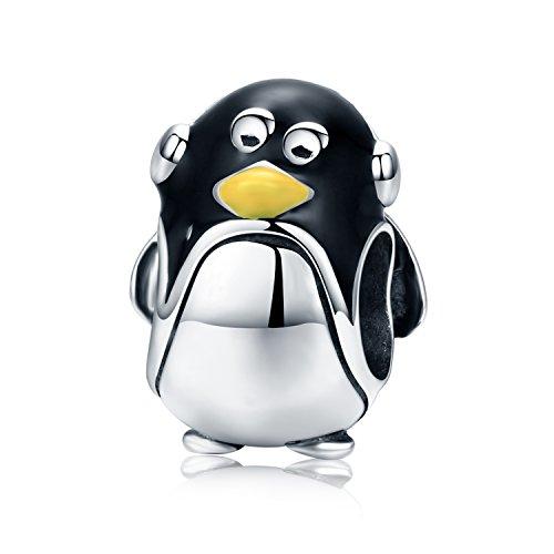 (YOUFENG Jewellery Charm Pinguin Emaille Schwarz Niedliche Tier Charms Passen Schlange Kette Armband Frauen Schmuck Geburtstag Geschenke)