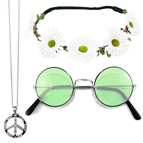 Das Kostümland Hippie Set 3-tlg. - Weißes Haarband mit grüner ()