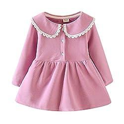 Vovotrade Mädchen Kleider Prinzessin Kleid Cashmere Langarm Revers Baumwolle Einfarbig Kleider Party
