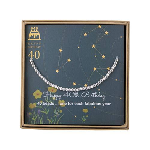 rtstag für Frauen - Sterling Silber Perlenarmband Geschenk zum 40. Geburtstag, verstellbarer Schmuck, 17,8-22,9 cm Kordel ()