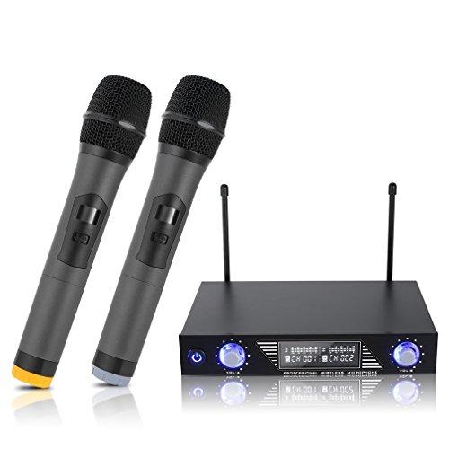 fon, UHF Wireless Mikrofon System Dual 2 Handmikrofon Mikrofone mit Dynamischen LCD Display Tragbare Professionelle Home KTV Set für Karaoke, Party, Konferenz, Hochzeit usw (Vocal Mikrofon Wireless)