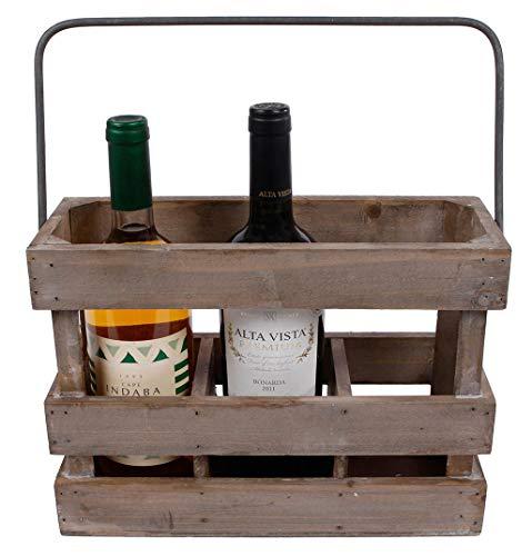hLine Weinkiste aus Holz Weinträger Geschenk für Weinliebhaber 3 teilig
