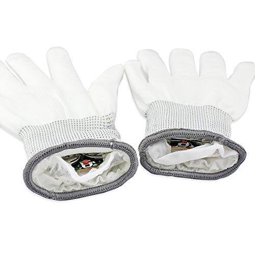 ESUMIC® Raver geschwärzt Handschuhe LED Skeleton Single Color Light Show Handschuhe (Unglaublichen Kostüm Die Familie)