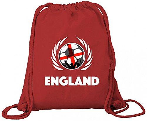 Wappen World Cup Fussball WM Fanfest Bio Baumwoll Turnbeutel Rucksack Gym Bag Fußball England Red