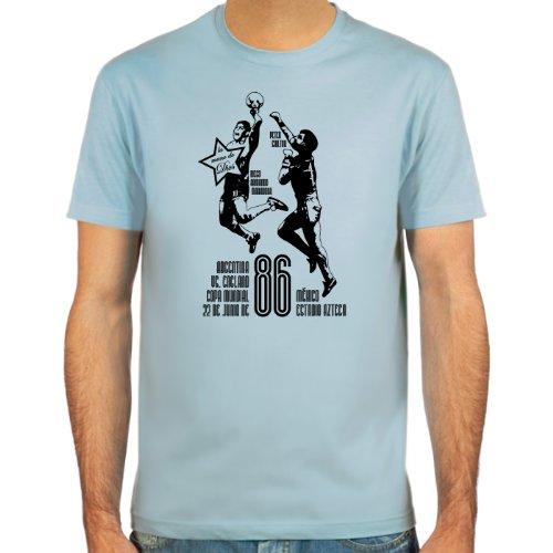 SpielRaum T-Shirt, La mano de dios ::: Farbauswahl: skyblue, sand, weiß oder deepred ::: Größen: S-XXL ::: Fußball-Kult