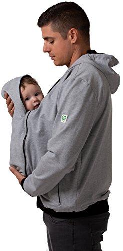 Evagreen Tragejacke 2 in 1 für Papa, Mama und Baby   Sportliche Freizeitjacke mit Babyeinsatz (L, Grau)