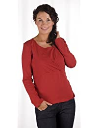 Carriwell Kaj Long Sleeve Nursing and Maternity Top (Large, Pompeian Red)