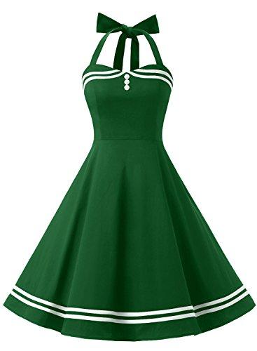 Timormode Rockabilly Kleider Neckholder 50s Vintage Kleid Retro Knielang Kleider Damenkleider Festlich Cocktailkleider 10387 Armygreen S (Passen Cocktail-kleid)