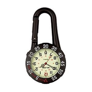 Black Clip auf Karabiner Rotierende Lünette Leuchtende Gesicht FOB Watch für Ärzte Krankenschwestern Rettungssanitäter Chefs Extra Batterie