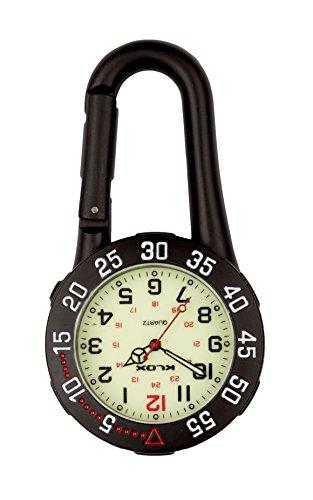 Black Clip auf Karabiner Rotierende Lünette Leuchtende Gesicht FOB Watch für Ärzte Krankenschwestern Rettungssanitäter Chefs Extra Batterie (Watch Karabiner)