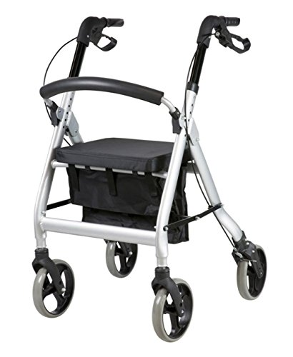 FabaCare XXL Rollator G-233, höhenverstellbar, faltbar, mit Sitz, klappbare Rückenlehne, Tasche, Gehwagen, Rollwagen, bis 200 kg, Sitzbreite 56 cm
