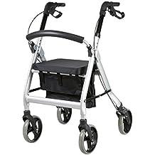 FabaCare Premium XXL Rollator G-233, höhenverstellbar, faltbar, mit Sitz, klappbare Rückenlehne, Tasche, Gehwagen, Rollwagen, bis 200 kg, mit FabaCare Easy To Clean Spezialversiegelung