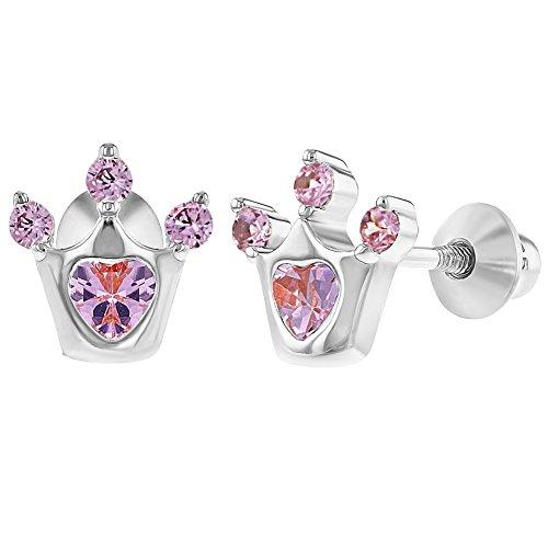In argento sterling 925con zirconi Princess Crown vite posteriore Baby Girl orecchini e Argento, colore: Pink, cod. SS-03-00368