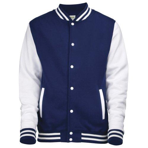 Just Hoods by AWDis Herren Jacke Varsity Jacket Oxford Navy/White
