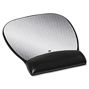 3M - Precise Leatherette Mouse Pad w/Wrist Rest, Nonskid Base, 8-3/4 x 9-1/4, Black by 3M