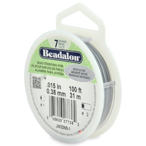 Beadalon 7-Strand Edelstahl 0.015-inch Bead Besaitung Draht, 100-feet, Satin Silber -