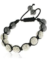 Shamballa'styl - 7cry - Bracelet 7 Boules Crystal Mixte - Macramé Tressé - Cristal/Hématite - Blanc - Ajustable