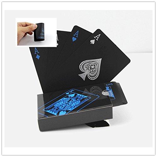 Kunststoff PVC Poker-Karten, Wasserdicht Magic Tisch Card Sets Reisen Home Gebrauch, 54pcs/Deck (schwarz)