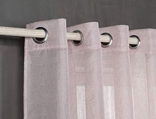 Tende trasparente con 8 ollao (1 pannello, 140 x 260) per soggiorno e camera. 140_x_260_cm (malva). modello clara