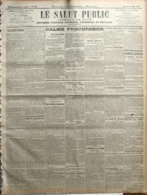 SALUT PUBLIC (LE) N? 138 du 18-05-1918 ALSO SPRACH GERMANIA PAR JOSEPH SERRE - BULLETIN PAR Z - CALME PRECURSEUR -FRONT FRANCO-BELGE - BRAVOURE DE LA LEGION RUSSE - SUR MER - UN PIRATE AU FOND DE L'OCEAN - LES SOUS-MARINS ANGLAIS DELA BALTIQUE - AU JOUR LE JOUR - IMPROVISATIONS PARLEMENTAIRES PAR CHABLY - L'ALLEMAGNE CONTINUE DE TROUBLER L'IRLANDE - LA QUESTION POLONAISE - LES CONFERENCES DU G Q G ALLEMAND - L'ALLIANCE DES EMPIRES CENTRAUX - LE REVE DE LA MITTEL EUROPA - LES TRAITES GERMANO-U...