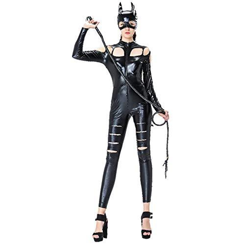 Leder Kostüm Katze Alle - Sexy Leder Halloween Lackleder Katze Mädchen Cosplay Party Kostüme Bar Nachtclub Ds Maskierte Lederoverall,Black