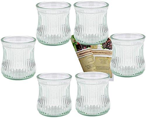 gouveo 24er Set Teelichtgläser Vintage und 28-seitige Flaschendiscount-Rezeptbroschüre Windlichter, Windlichthalter, Vase, Dessertglas