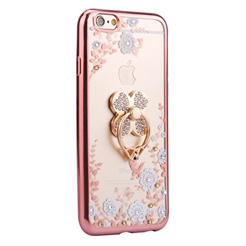 Coque pour iPhone 6/6S,iPhone 6S Or Coque en Silicone Clair Ultra-Mince Etui Housse avec Bling Diamant,iPhone 6 Placage Coque Bling Bling Glitter Sparkle Diamond Silicone Case Rose Gold Slim Soft Gel  Or Rose trèfle-Fleur Blanche