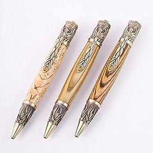 """Kugelschreiber mit Großraummine aus Holz Modell""""Phönix"""" Steampunk Mittelalter Antik Shabby Chic Keltischer Knoten"""