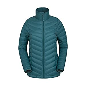 41vO2e8JghL. SS300  - Mountain Warehouse Featherweight Down Womens Jacket - Water Resistant Ladies Rain Jacket, Thermal Winter Coat, Lightweight, Packaway - for Travelling, Hiking, Camping