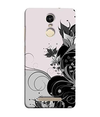 Printfidaa Black Colour Floral in Gray Colour Background Print Designer Back Cover for Xiaomi Redmi Note 3 Pro