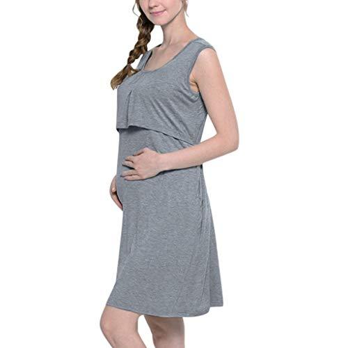 SOMESUN Schwangere Frauen Pyjama Bequemen Stoff Mit Pflegefunktion Nähen Kurzarm Stillen Einfarbig Kleid Nackt Farbe Stillen Offen Umstandskleid