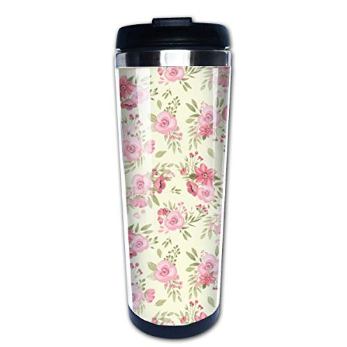 Spring Florals Mix With Little Bunny And Cute Florals Multi Insulated Stainless Steel Travel Mug 14 oz Classic Lowball Tumbler with Flip Lid -