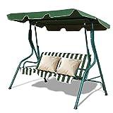 COSTWAY Hollywoodschaukel Gartenschaukel Schaukel Gartenliege Schaukelbank Gartenbank mit Sonnendach 3-Sitzer