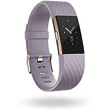 Fitbit Charge 2 Edición Especial - Pulsera de actividad física y ritmo cardiaco unisex, color lavanda / oro rosa, talla L