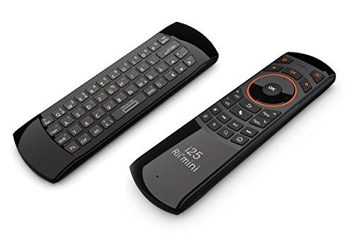 Rii Mini I25 V2 Funk Fernbedienung mit Tastatur, Air Maus und anlernbaren Infrarottasten als Universalfernbedienung -