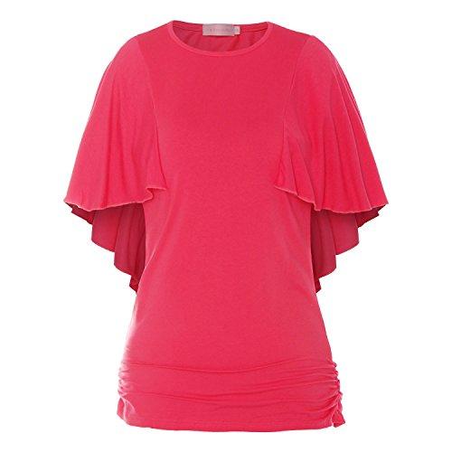 ReliBeauty Damen Boot Ausschnitt Shirring T-Shirts Kurzarm Falten Volant Dolman Schmetterling Ärmel Einfarbige Tunika Tops Hot Pink