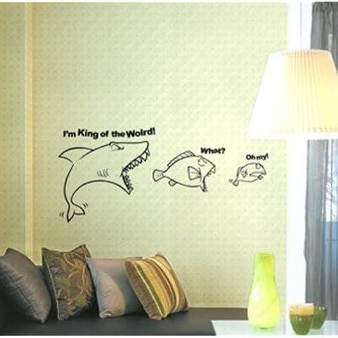 Adesivo corridoio parete bella shark pesci grandi stanze da bagno amovibile di pareti a stick per l'impermeabile in piastrelle di