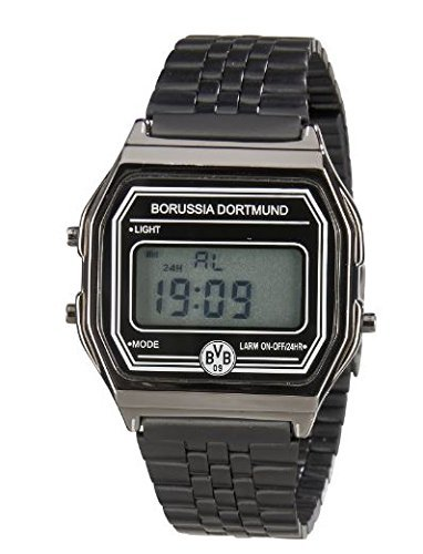 Borussia Dortmund Uhr, Grau, Metall/Edelstahl, Display ca. 3,5 cm, Retro-Design, BVB-Emblem one size (Emblem Uhr)