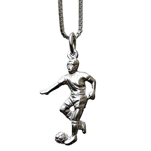 GravUp: Sterling Silber Anhänger Fussballer mit Sterling Silber Kette