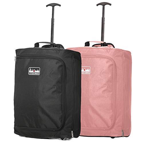 Lot de 2 Trolley 42L Bagage Cabine Ryanair 55x40x20 Dimensions Maximales Valise Souple 2 Roues Bagage à Main (Noir + Rose Or)