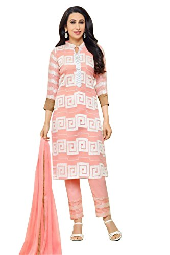 Ramazan Special - Lebaas Pink Heavy Georgette Embroidered Women's Semi-stitched Designer Suit...