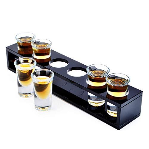 Bicchieri da martini bicchieri da cocktail set da 6 pezzi, liquore in vetro da bullet con portabicchieri in legno per bar ktv